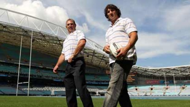 Brett Kenny and Nathan Hindmarsh  yesterday.