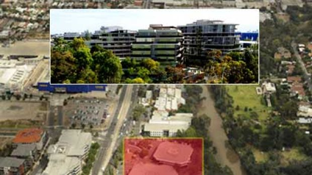An artist's impression of the proposed 'Docklands-style' complex at Abbotsford (top) and the proposed site (main).