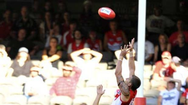 Young Swan forward Jesse White stakes an early claim for mark of the year with this spectacular grab over Kangaroos ...