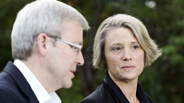 Health showdown .... Prime Minister Kevin Rudd with NSW Premier Kristina Keneally at The Lodge in Canberra.