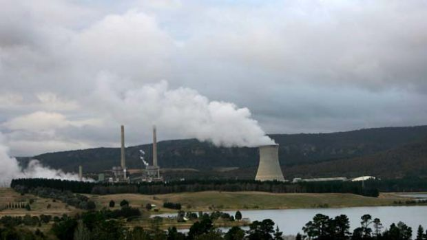 Delta Electricty Power Station at Wallerawang near Lithgow with Lake Wallace  in the foreground.