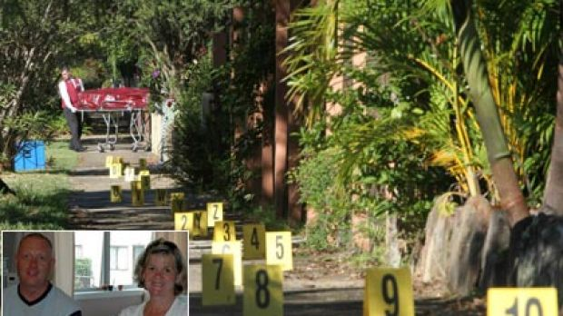 Main: The body of Michelle Beets was removed from her  home yesterday. The cones mark the escape path of her  killer. ...