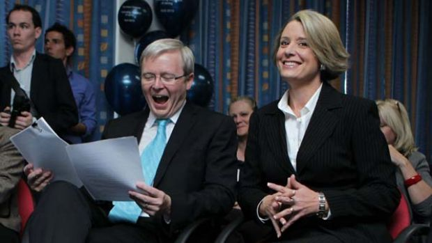 Prime Minister Kevin Rudd with the NSW Premier, Kristina Keneally.