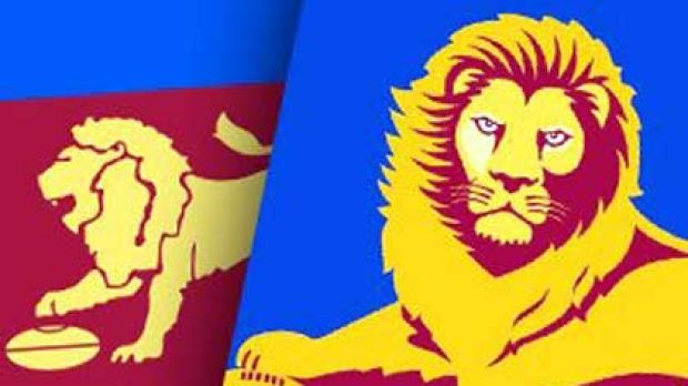 The old and the new ... Fitzroy fans are battling the Brisbane club over the Lions logo.