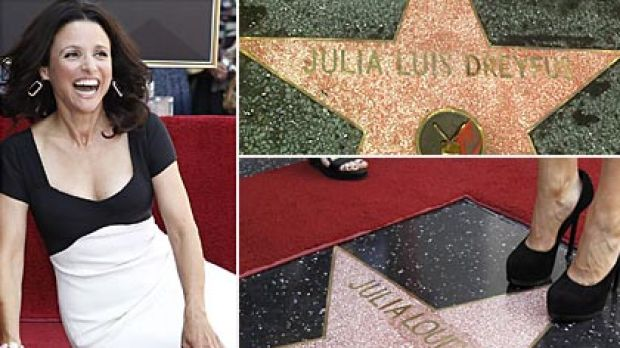 Before and after ... Julia Louis-Dreyfus's name was corrected in time for the ceremony. Photos: Reuters, CNN, AP
