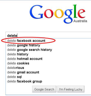 """Delete Facebook account"" comes up as the first option now if you being typing the phrase into Google. But look what's ..."