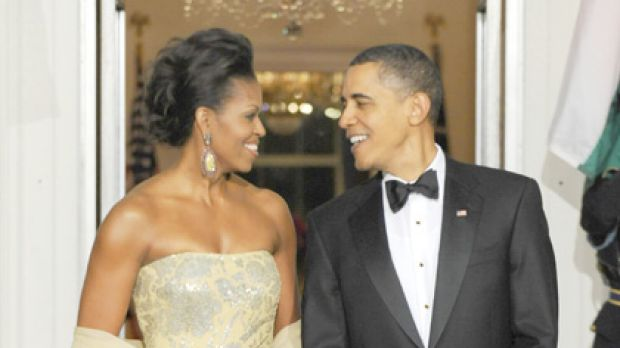 Nude or champagne? ... Michelle Obama's gown sets off a colour controversy.