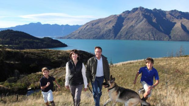 A long way from Denver ... Doug Kirkpatrick, with his wife Carolyn and sons Liam, 11, and Colin, 9, enjoying the ...