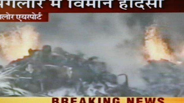 This frame from television shows burning wreckage of an Air India aircraft which crashed at Mangalore.