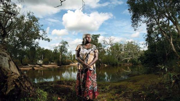 "Protest ... Yvonne Margarula, a  Mirarr elder, near a monitoring station on Magela Creek. ""Rio Tinto] don't tell us the ..."
