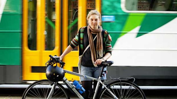 Lena Douglas was fined $292 forcycling past a tram on Swanston Street.