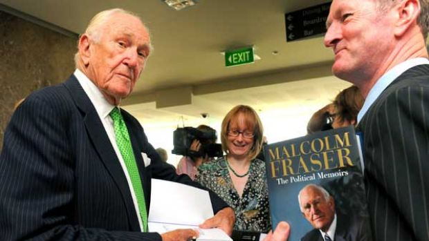 At the March launch of his political memoirs, Malcolm Fraser remained silent about having quit the Liberal Party.