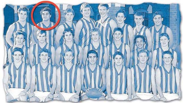 Karmichael Hunt, circled, with the ''Churchie'' school team in 2003. Former Brisbane Lion Scott Harding is in the middle ...