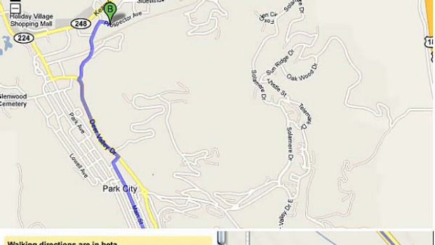 The 'dangerous' Google Map (above) and Google Maps' caution about the route (bottom).