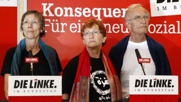 German left-wing Die Linke party members Annette Groth, Inge Hoeger and Norman Paech, who were on board one of the ...