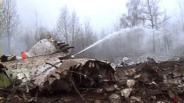 Image from video footage shows the wreckage of a Polish government aircraft after it crashed near Smolensk airport in ...