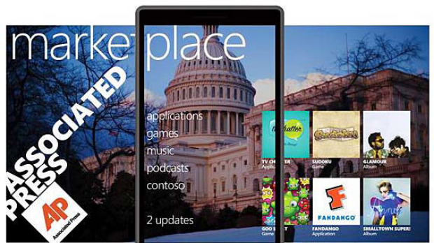 Expanding windows... Windows Phone 7's Marketplace hub can be swipped left and right to reveal applications.