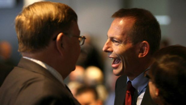 Opposition leader Tony Abbott speaking with Moore Wilton at the Italian National Day Celebrations. <i>Photo Steven ...