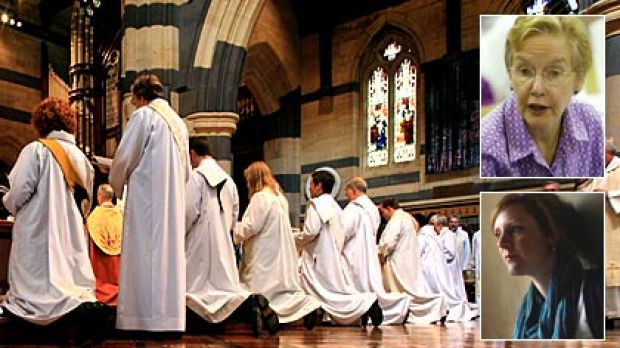 Anglican priests are ordained at St Paul's Cathedral, Muriel Porter (top) and Hannah Craven.