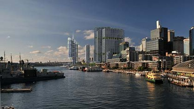 An artist's impression of the revised plan for the hotel, as seen from Darling Harbour.