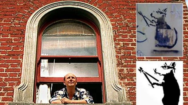 Underwear designer Mitch Dowd at his South Melbourne home and, inset, the stolen 'Banksy' (top) and another version ...