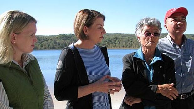 Climate Change and Sustainability Minister Kate Jones, Queensland Premier Anna Bligh and Quandamooka elder Aunty Joan ...