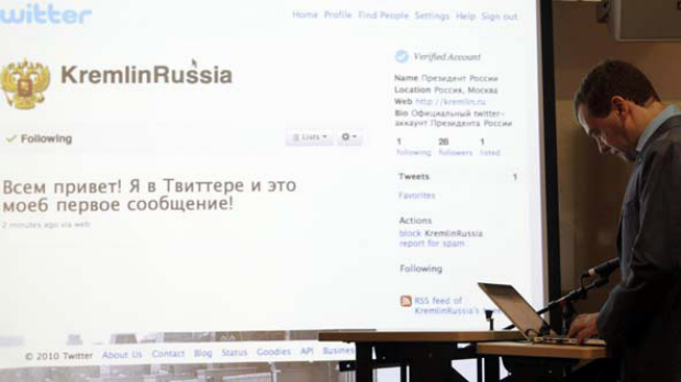 President of Russia Dmitry Medvedev tweets at the Twitter office in San Francisco. Photo: AP/Jeff Chiu