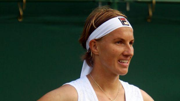 Russia's Svetlana Kuznetsova reacts during her loss to Anastasia Rodionova.