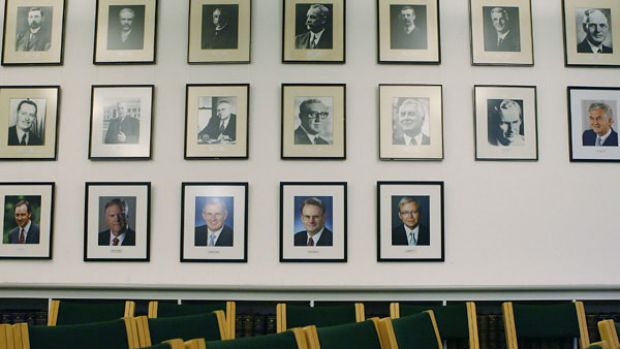Images of former Labour leaders in the Government Party Committee Room at Parliament House. <i>Photo: Stefan Postles</i>