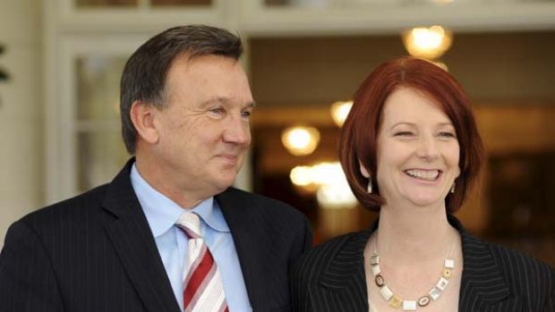 New leader of the Labor party and Prime Minister of Australia Julia Gillard with partner Tim Mathieson at Government House.