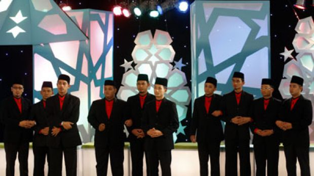 Mastering the mullah ... contestants during the filming of the Malaysian reality TV show Imam Muda or Young Leader.