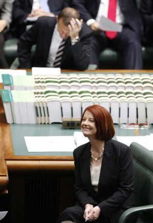 Julia Gillard and Tony Abbott in Question Time: ''Game on''.