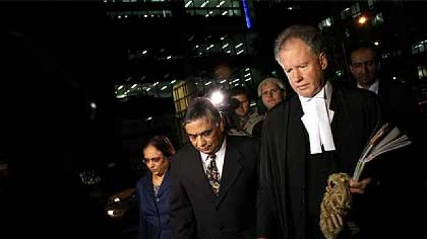 Dr Jayant Patel arrives at court with supporters to hear his fate.