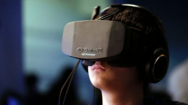 A prototype of gaming headset Oculus Rift. The company is owned now by Facebook.