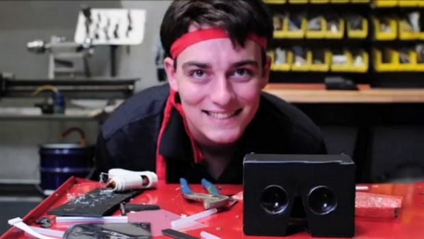 Full of strange ideas: 21-year-old Palmer Luckey with an early prototype of the Oculus Rift.