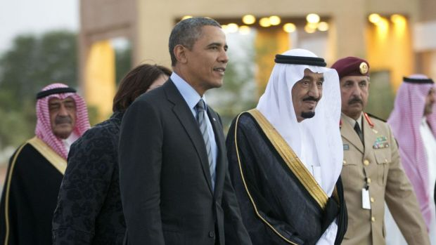 Divisions over Middle East policy: Saudi Arabia's Crown Prince Salman bin Abdulaziz Al Saud escorts Barack Obama to his ...