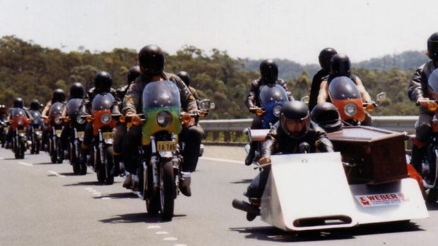 Famous feature: The funeral scene from seminal bikie-cop film Stone, produced by David Hannay.