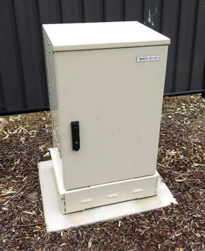 A smaller NBN street cabinet made in Melbourne.