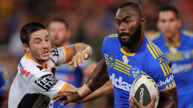 Parramatta winger Semi Radradra was a constant handful for the Broncos' defence.
