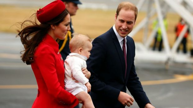 Prince William, his wife Catherine, Duchess of Cambridge and their son Prince George arrive in Wellington.
