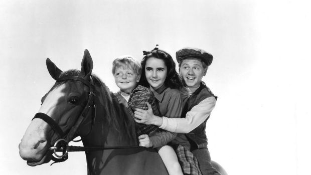 """Elizabeth Taylor and Mickey Rooney in a scene from the film """"National Velvet""""."""