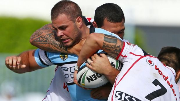 Hot property: Cronulla's Wade Graham in action against the Warriors.