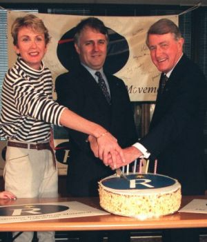 Close allies in the Republican Movement: Celebrating the movement's 7th birthday from left, Wendy Machin, Malcolm ...