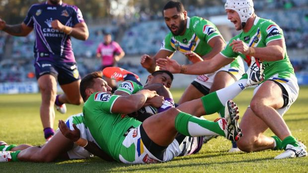Sisa Waqa goes oh so close to scoring for Melbourne against Canberra on Sunday.