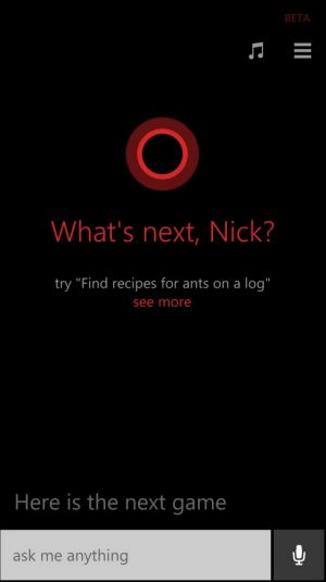 A screenshot of Microsoft's Cortana.