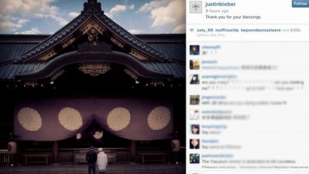 Justin Bieber's Instagram page shows the singer at the Yasukuni Shrine.