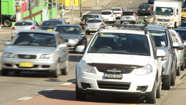 Still crowded: traffic on Parramatta Road.
