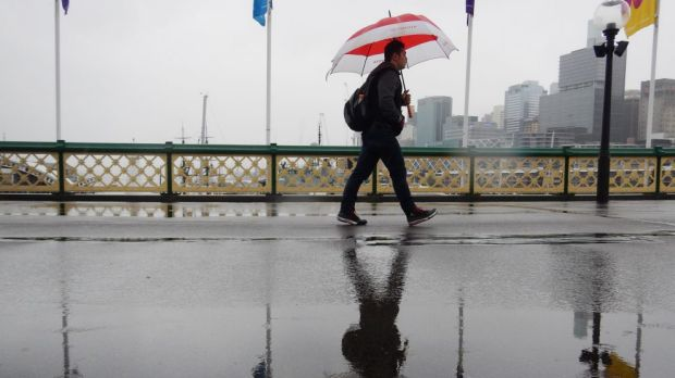 Rain was heaviest in Sydney's city and east on Sunday morning.