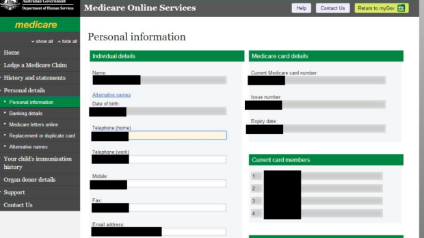 Records: Some of the information accessible via my.gov.au when linking it to Medicare.