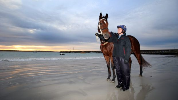 Brierly Steeple hope: Cats Fun, with strapper Kirsty McMahon, at  Warrnambool beach.